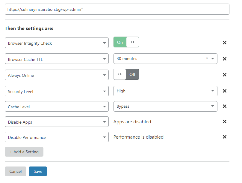 Page Rule for Admin Page