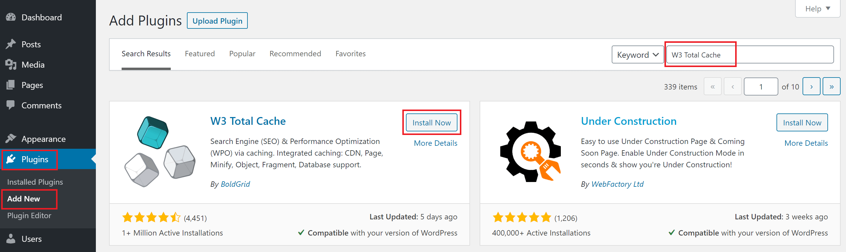 Install W3 Total Cache