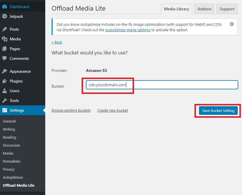 Offload Media Lite Select Bucket